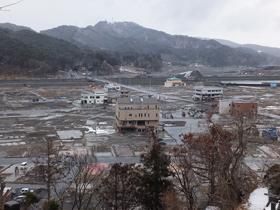 高台より撮影した大槌町内浸水地区